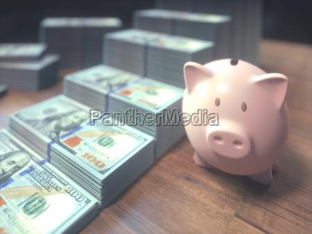 piggy bank dollar bills growing bar
