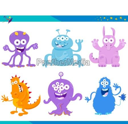 cartoon fantasy monster characters set