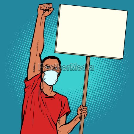 african man protesting in mask