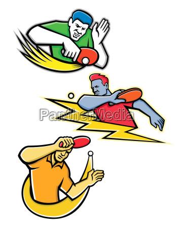 tischtennis sports mascot collection