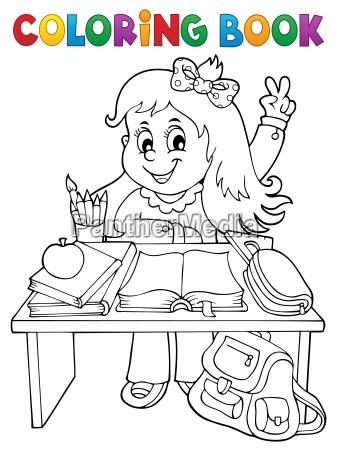 coloring book girl behind school desk
