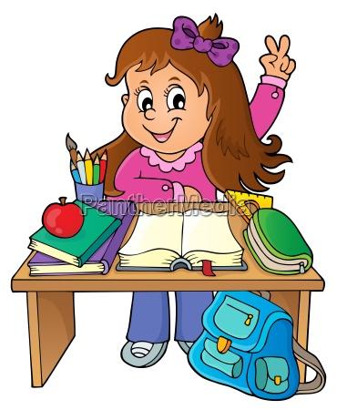 girl behind school desk theme image