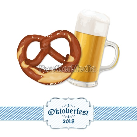 oktoberfest background with pretzel and beer