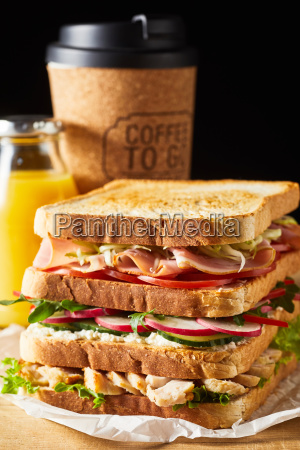 thick fresh sandwich with ham and