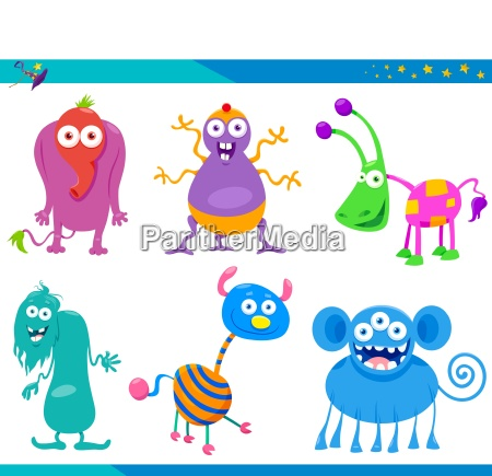 cartoon fantasy monster characters collection