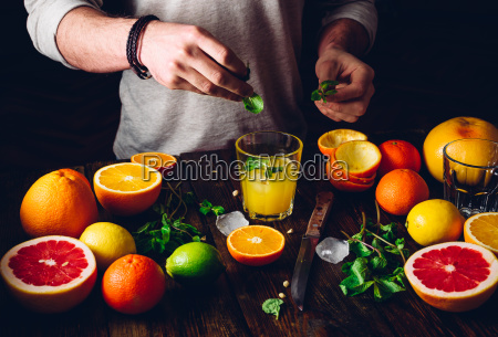 naranja mano menta mandarina pomelo agrios