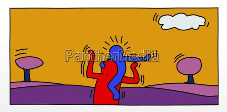 pop art illustrationen eines kleinen mannes