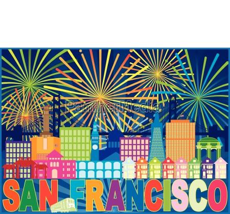 san francisco skyline trolley fireworks color
