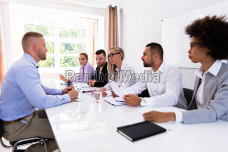 man sitting at interview