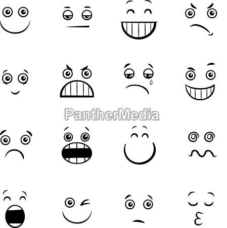 cartoon emoticons or facial emotions collection