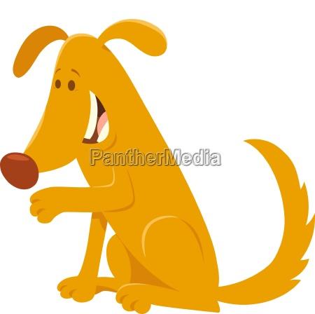 happy yellow dog cartoon character