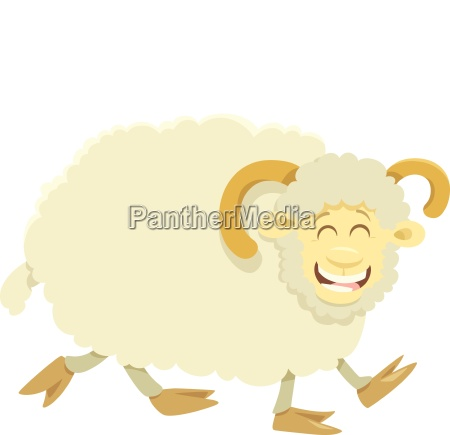 happy ram farm animal character