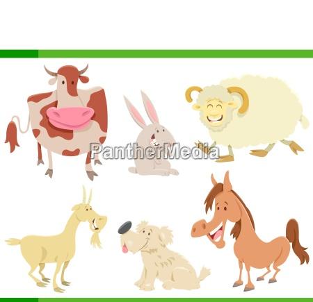 cartoon happy farm animal characters set