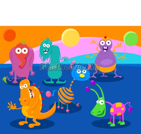 cartoon fantasy monster characters group