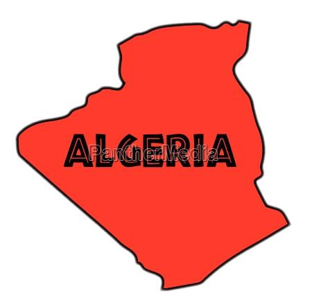 algerien schattenbild karte
