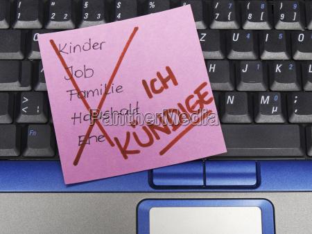 memo note auf notebook notiz mit