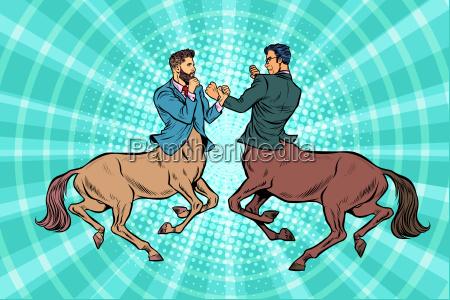 pop art two centaur businessmen fighting