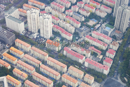 aerial view of residential area in