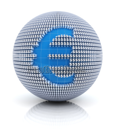 euro currency icon on globe formed