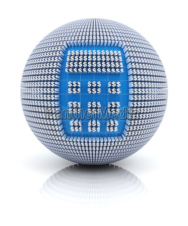 calculator icon on globe formed by