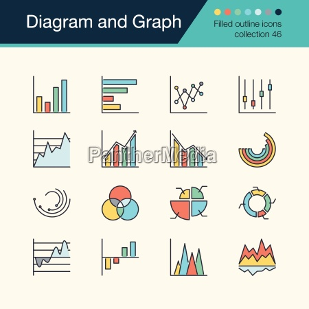 diagram and graph icons filled outline