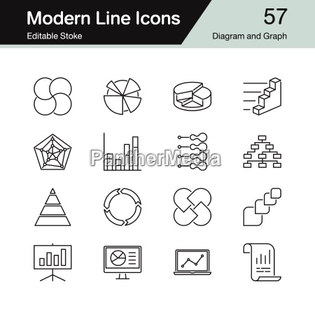 diagram and graph icons modern line