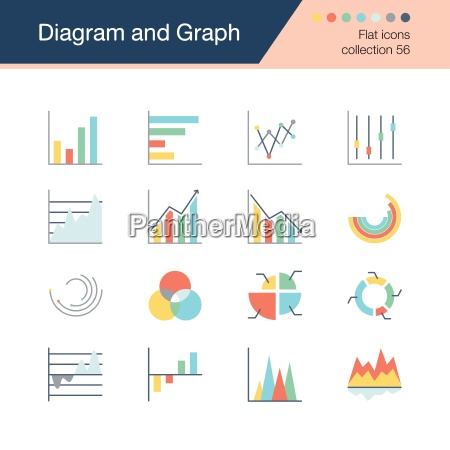 diagram and graph icons flat design