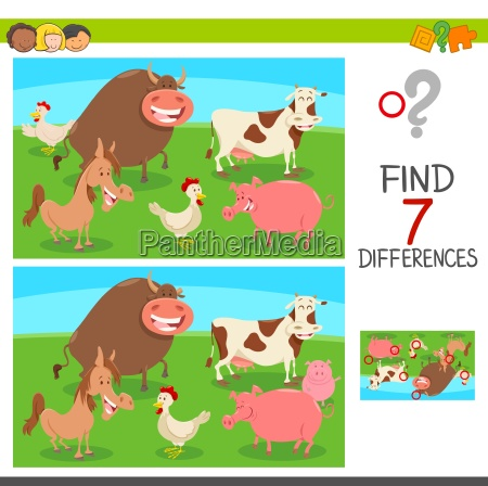 differences game with farm animals