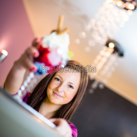 cute young woman in an ice