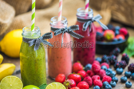 fresh smoothies and fruit