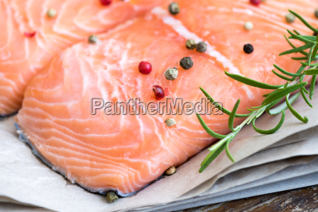 detail of raw salmon fish fillet