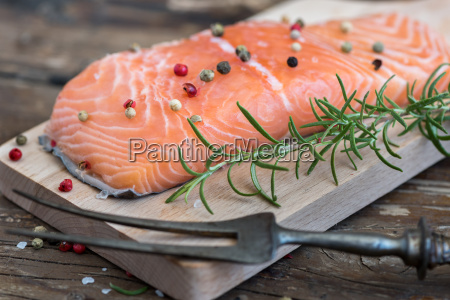 raw salmon fish fillet with fresh