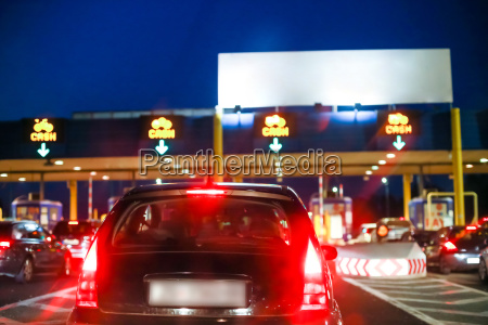 car waiting on the highway toll