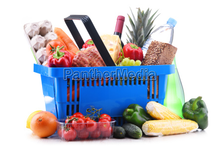 plastic shopping basket with assorted grocery