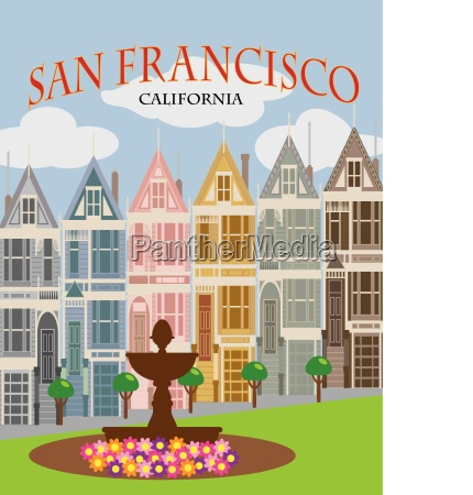 san francisco painted ladies poster illustration
