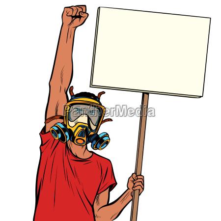 afrikanischer mann protestiert gegen verschmutzte luft