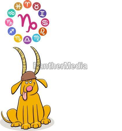 steinbock tierkreiszeichen mit cartoon hund