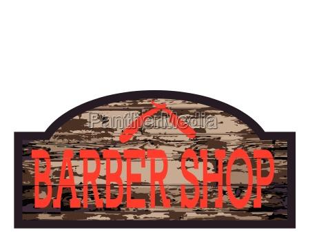 worn barber shop wooden store sign