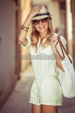 happy woman enjoying shopping