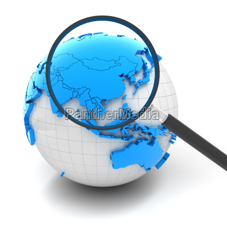 globe with magnifying glass over china