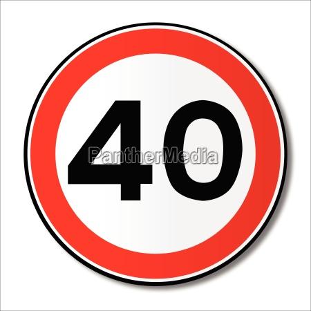 40 mph grenze verkehrszeichen