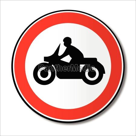 motorrad runde verkehrszeichen
