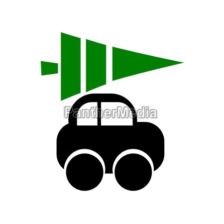 auto ikone mit weihnachtsbaum