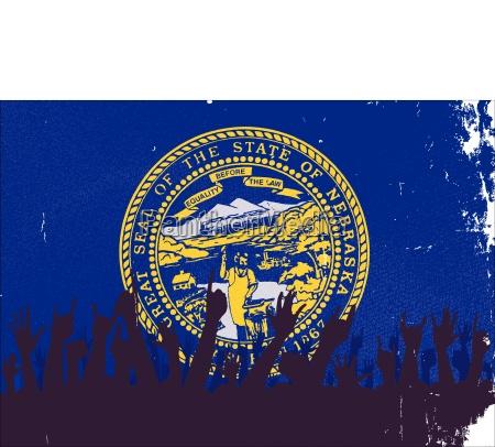 nebraska staatsflagge mit publikum