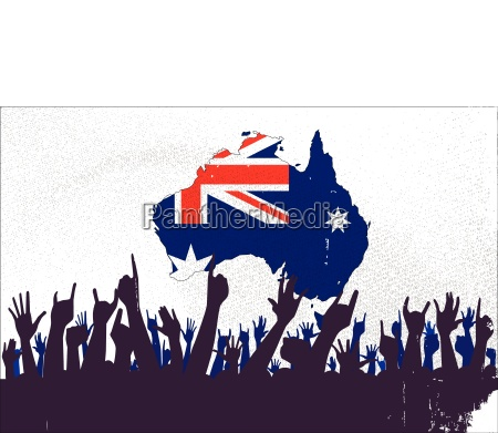 australian map and flag with audience