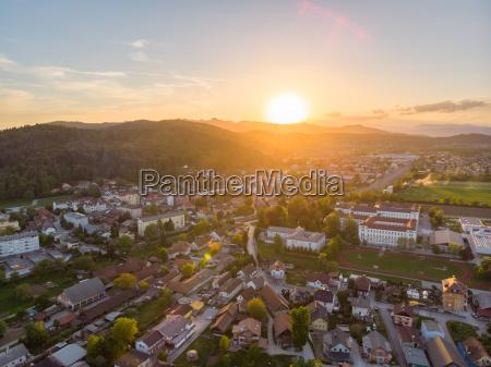 aerial view sentvid district of ljubljana