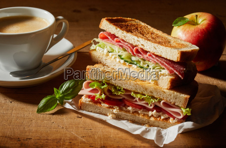 fresh tasty double sandwich with coffee