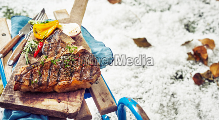 delicious barbecued t bone steak with