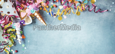 panorama unicorn banner with festive carnival