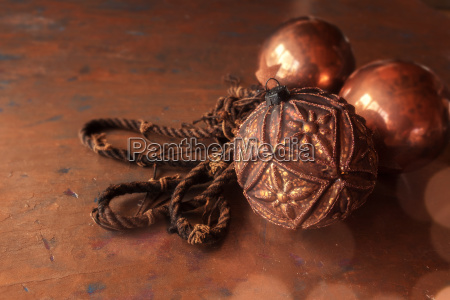 christmas balls in copper color
